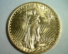 Buy 1908 NO MOTTO TWENTY DOLLAR SAINT GAUDENS GOLD UNCIRCULATED+ UNC.+ ORIGINAL COIN