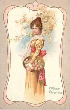 Buy A Happy Christmas Victorian Young Woman Vintage Postcard