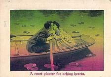 Buy A Court Plaster for Aching Hearts Couple in Rowboat Vintage Romance Postcard
