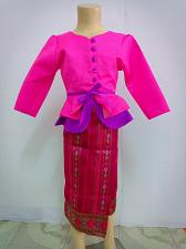 Buy Pink Lao Laos Girl Tradition Dress Clothing 3/4 Seeve Blouse Sinh Skirt Size 8-9