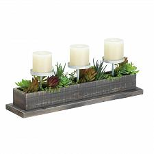 Buy *17835U - Reclaimed Wood Box Succulent Plant Pillar Pedestal Candle Display
