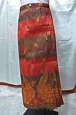 "Buy Thai Peacock Orange Gold Synthetic Silk Women Sarong long Skirt sz XL W34"" SR1"