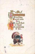 Buy Thanksgiving Greetings Turkey Embossed Vintage Postcard