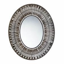 Buy *17892U - Faux Rattan Brown Oblong Wall Mirror