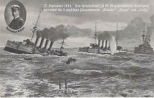 Buy WW1 HMS Hogue, Cressy, Aboukir sinking Sept 22nd 1914 Cozens Portsmouth Postcard