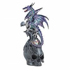 Buy *17522U - Mystical Jeweled Purple Dragon & Skull Figurine