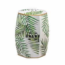 Buy *18686U - Green Leaf Island Palms White Ceramic Decorative Stool Accent Table