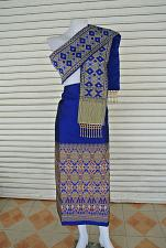 Buy Blue Lao Laos Tradition Synthetic Silk Fabric Glue for sinh Skirt Pha Bieng