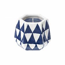 Buy :10633U - Deep Blue Triangle Ceramic Lemoncello Scented Soy Blend Wax Candle