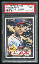 Buy 2001 TOPPS HERITAGE REAL ONE RED AUTO ENOS SLAUGHTER, PSA 9 MINT (26532039)