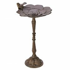 Buy D1319U - Rustic Flower Pedestal Cast Iron Birdbath