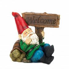 Buy *15673U - Welcome Gnome Solar Light Statue Yard Art