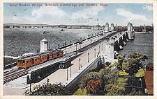 Buy West Boston Bridge Between Cambridge and Boston, Trolley Mass Vintage Postcard