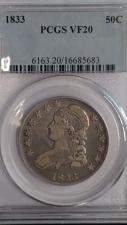 Buy 1833 CAPPED BUST HALF DOLLAR. PCGS GRADED VF-20. LOOKS UNDER GRADED.