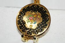 Buy Vintage Stratton Brass Compact c1930-1950 Black & Gold Stars Enamel Pink Roses