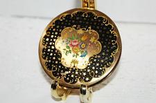 Buy Vintage Stratton Brass Compact c1930-1950 Black & Gold Stars Enamel Pink Roses