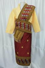 Buy Yellow Lao Laos 3/4 Sleeve Blouse Suea pat siz 18 Synthetic Sinh Skirt Pha Bieng