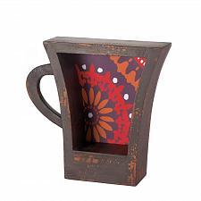 Buy *17107U - Dark Coffee Cup Shelf Orange Pattern Background