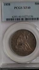 Buy 1858 SEATED LIBERTY HALF DOLLAR. PCGS GRADED XF-40. KEY DATE,