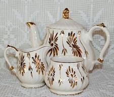 Buy Vintage Sadler Teapot Cream & Sugar in Ivory w/ Heavy Gold Gild Floral Leaf VGC