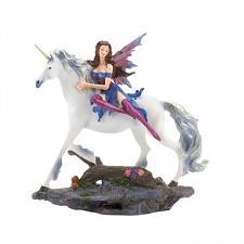 Buy *18838U - Blue/Purple Fairy & White Unicorn Mythical Figurine