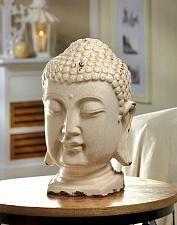 Buy *15683U - Table Top Buddha Head Figurine Distressed Finish