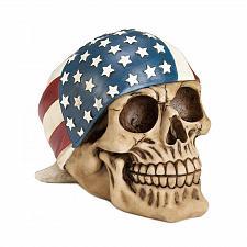 Buy *17677U - Skull American Flag Bandana Skeleton Head Figurine