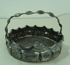 "Buy Vtg Pairpoint Quadruple Plated 5"" Silver Basket Fruit Design Folded Edge #29LL"