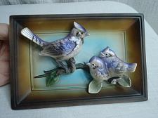 Buy Vintage Chalkware Plaster Birds Wall Hanging Plaque Blue Jays 3D Giftcraft