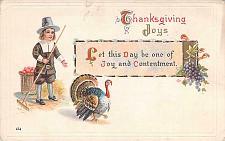 Buy Thanksgiving Joys Pilgrim and Turkey Sample Vintage Postcard