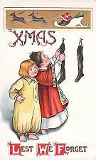 Buy XMAS Lest We Forget, Children Hanging Stockings, Santa Embossed Vintage Postcard