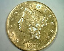 Buy 1877-S TWENTY DOLLAR LIBERTY GOLD CHOICE ABOUT UNCIRCULATED CH. AU NICE ORIGINAL