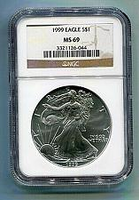 Buy 1999 AMERICAN SILVER EAGLE NGC MS69 BROWN LABEL PREMIUM QUALITY NICE COIN PQ