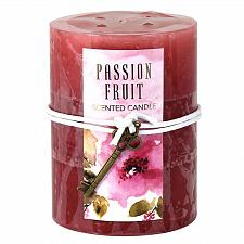 Buy :10914U - 2ct Passion Fruit Scented Tri-color Red Pillar Candle 3x4 Key Charm