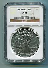 Buy 2012 AMERICAN SILVER EAGLE NGC MS 69 BROWN LABEL PREMIUM QUALITY PQ BOBS COINS