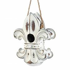 Buy *18191U - Fleur-De-Lis White Weathered Polyresin Birdhouse