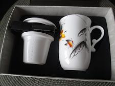 Buy G115xa Porcelain Tea Cup Mug Lidded Infuser Gift Boxed Set Butterfly Floral
