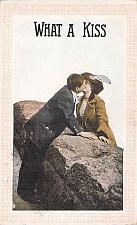 Buy What a Kiss Risque, Framed Romance Vintage Postcard