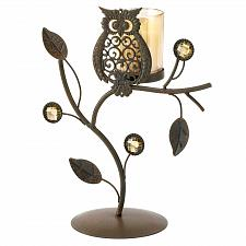 Buy 14604U - Wise Owl Acrylic Gem Tree Glass Cup Iron Votive Candle Holder Stand