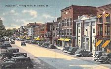 Buy Main Street, Looking South, St. Albans, Vt. Linen Vintage Postcard