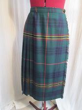 "Buy K159 Grand Logan Tartan Wool Kilted Kilt Skirt Green Blue Plaid Waist 24-26"""