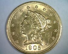 Buy 1905 2 1/2 DOLLAR LIBERTY GOLD NICE UNCIRCULATED NICE UNC. NICE ORIGINAL COIN