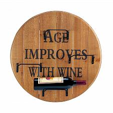 Buy *18169U - Age Improves With Wine Round Wooden Bottle Holder Wall Rack
