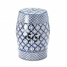 Buy *17922U - Blue & White Pattern Decorative Stool Accent Table