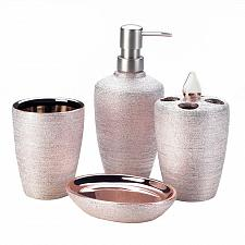 Buy *18332U - Rose Golden Shimmer 4pc Porcelain Bathroom Accessory Set
