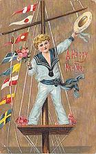 Buy A Happy New Year Young Boy in Sailor Outfit Embossed Vintage Postcard