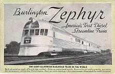 Buy Burlington Zephyr Railroad Engine Train Unused Vintage Postcard