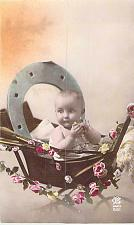 Buy New Years Baby in Buggy with Horseshoe France Vintage Postcard