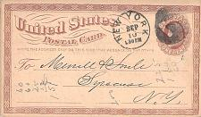 Buy 1874 UX3 New York, Negative 7 Fancy Cancel US Postal Card