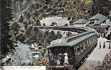 Buy Shasta Springs, Ca Train Arriving CA. Vintage Postcard